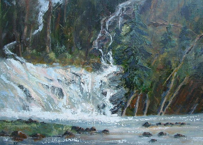 Landscape Greeting Card featuring the painting Pelican Falls by Bryan Alexander