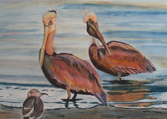 Pelicans Greeting Card featuring the painting Pelican Party by Karen Ilari