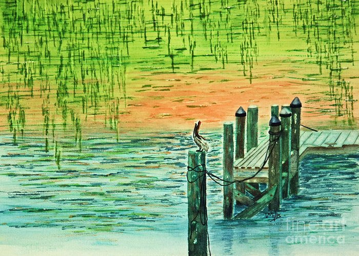 Bird Greeting Card featuring the painting Pelican Perch by Terri Mills