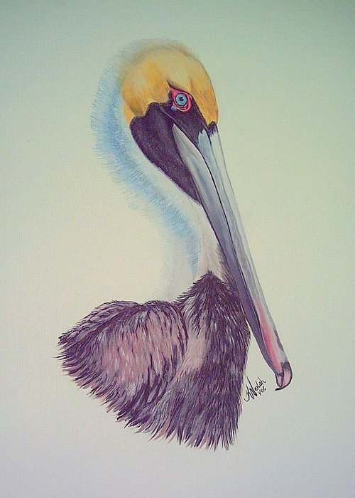 Pelican Greeting Card featuring the painting Pelican Prince by Kathern Welsh