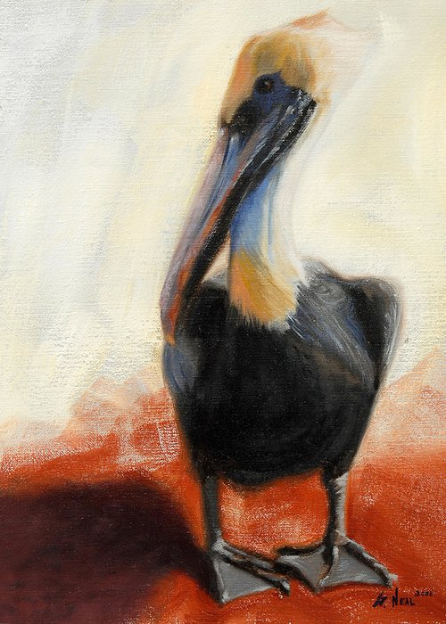 Pelican Greeting Card featuring the painting Pelican Study by Greg Neal