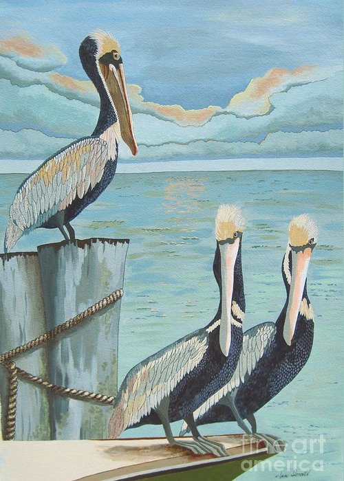 Seascape Greeting Card featuring the painting Pelicans Three by Jennifer Donald