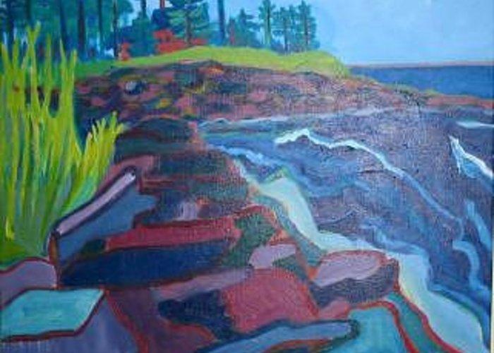Ocean Greeting Card featuring the painting Pemaquid Cliffs by Debra Bretton Robinson