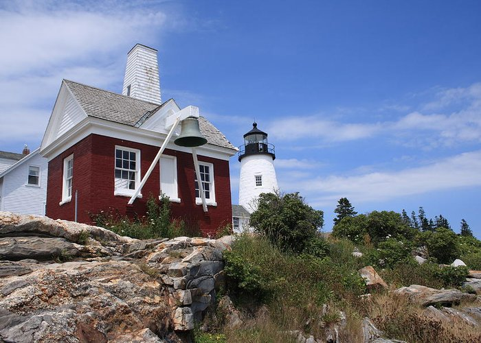 Seascape Greeting Card featuring the photograph Pemaquid Lighthouse 2 by Doug Mills