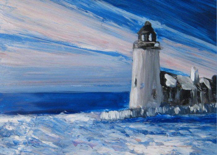 Lighthouse Greeting Card featuring the painting Pemaquid Winter Light by Lynne Vokatis