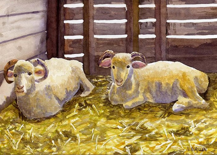 Sheep Greeting Card featuring the painting Pen Pals by Sharon E Allen