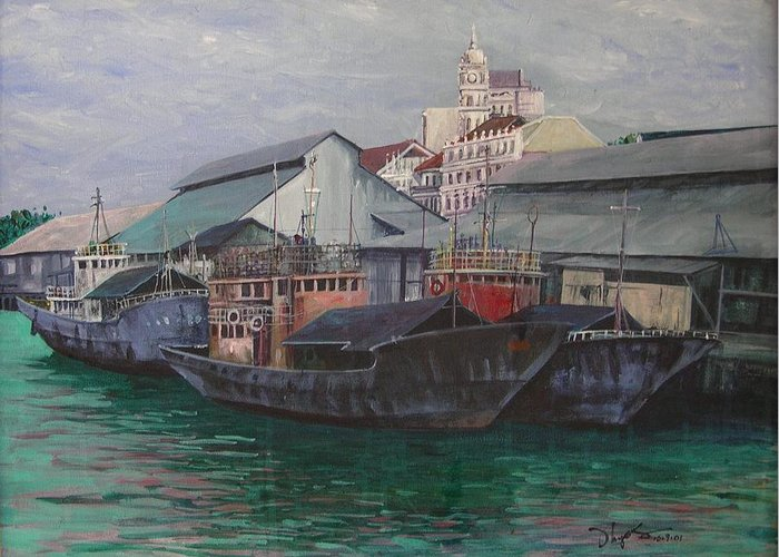 Seascape Greeting Card featuring the painting Penang Jetty by Richard Ong