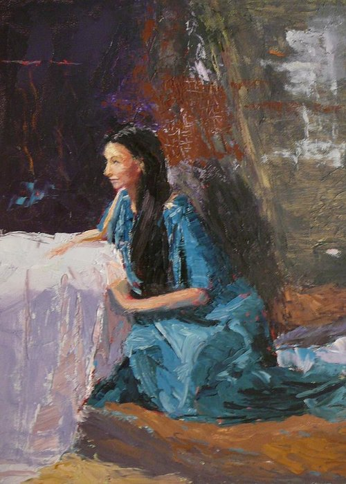 Sitting Woman Greeting Card featuring the painting Penelope by Irena Jablonski