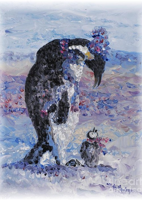 Penguins Winter Snow Blue Purple White Greeting Card featuring the painting Penguin Love by Nadine Rippelmeyer