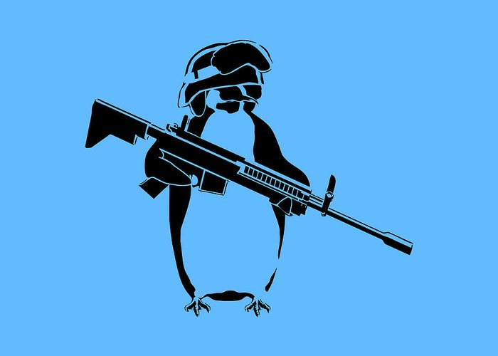 Penguin Greeting Card featuring the digital art Penguin Soldier by Pixel Chimp