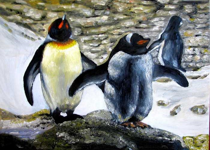 Oil On Canvas Greeting Card featuring the painting Penguines Original Oil Painting by Natalja Picugina