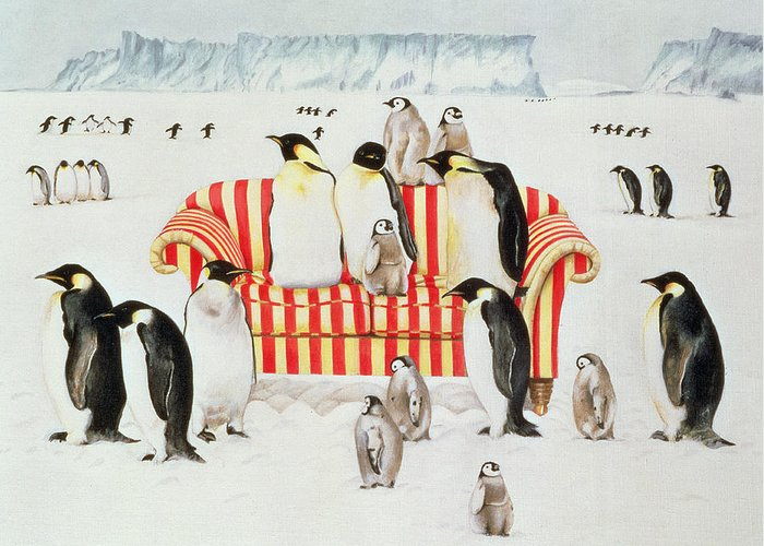 Antarctic Greeting Card featuring the painting Penguins On A Red And White Sofa by EB Watts