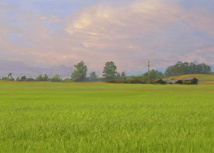Landscape Greeting Card featuring the painting Penngrove Field by Thomas Hansen