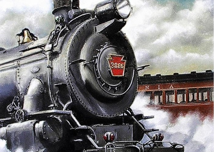 Pennsylvania Railroad Train Painting Railroad Maryland And Pennsylvania Autumn Fall Colors Steam Engine Greeting Card featuring the painting Pennsy #3885 by David Mittner