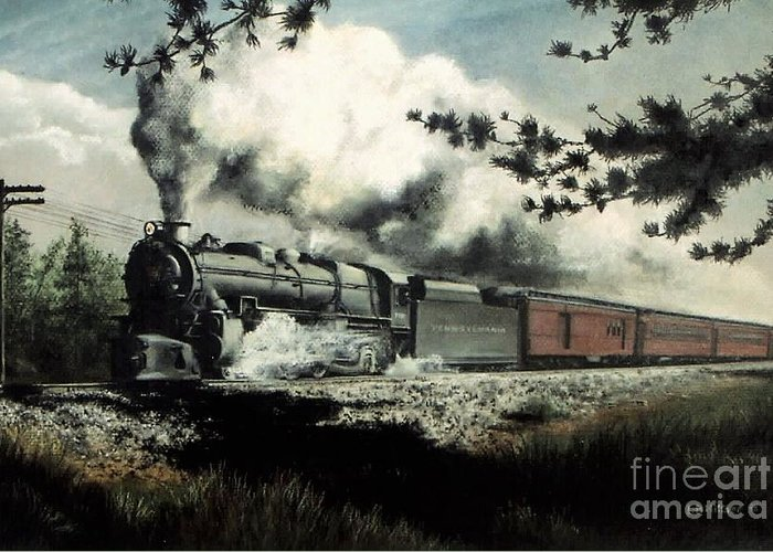 Pennsylvania Railroad Prr Train Painting Railroad Maryland And Pennsylvania Autumn Fall Colors Steam Engine Greeting Card featuring the pastel Pennsy in the Pines by David Mittner
