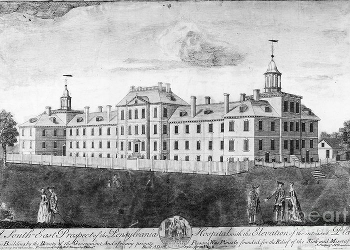 1755 Greeting Card featuring the photograph Pennsylvania Hospital, 1755 by Granger