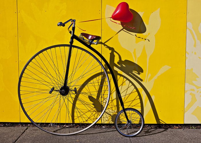 Penny Farthing Greeting Card featuring the photograph Penny Farthing Love by Garry Gay