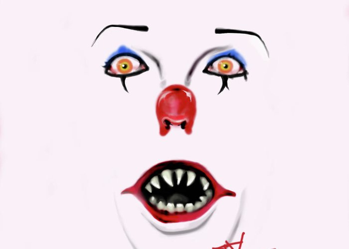 Pennywise Greeting Card featuring the digital art Pennywise The Clown by Danielle LegacyArts