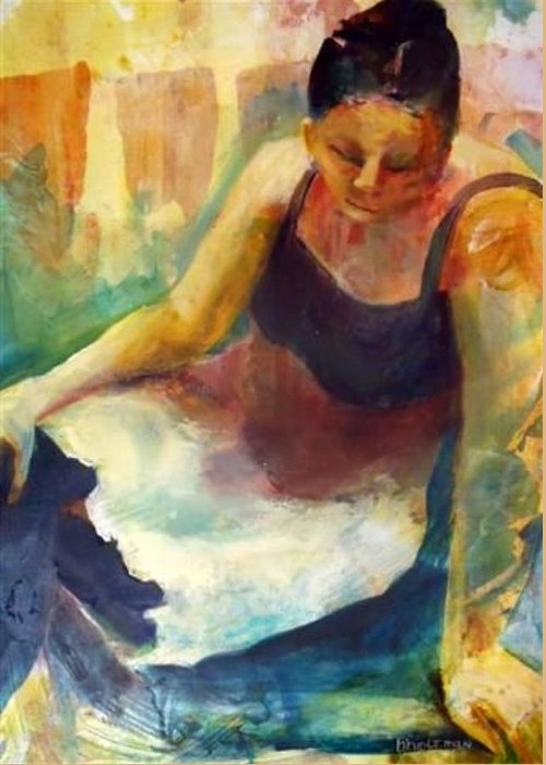 Female Figure Greeting Card featuring the painting Pensive by Buff Holtman