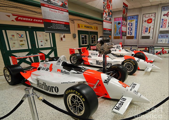 Penske Greeting Card featuring the photograph Penske Racing Indy 500 Hall Of Fame Museum by Steve Gass