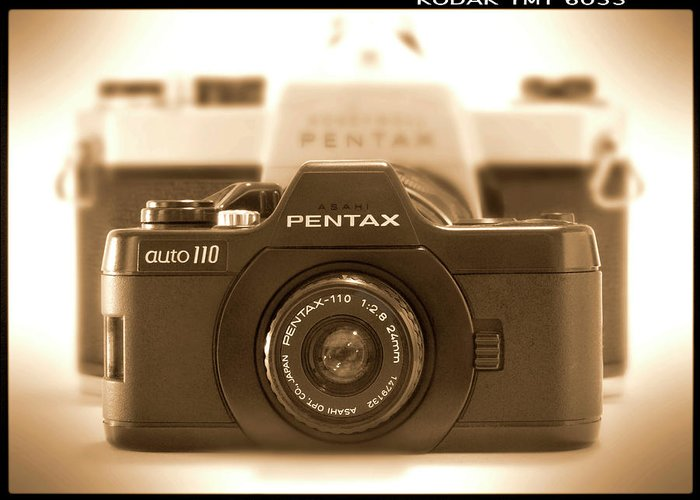 Vintage Pentax Greeting Card featuring the photograph Pentax 110 Auto by Mike McGlothlen