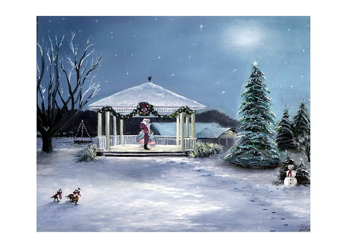 Pentwater Greeting Card featuring the painting Pentwater Christmas Eve by Gail Wurtz