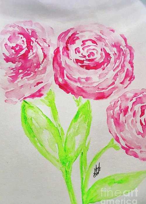 Peonies Greeting Card featuring the painting Peonies In Bloom by Gail Nandlal