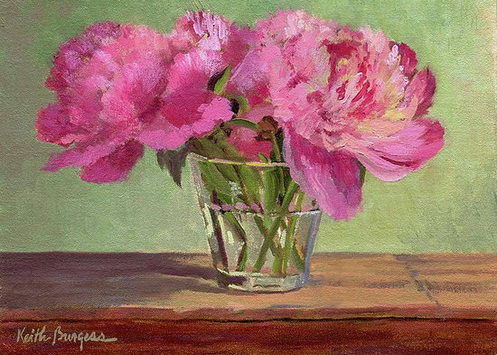 Still Greeting Card featuring the painting Peonies In Tumbler by Keith Burgess