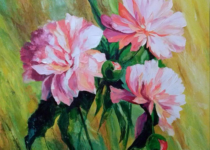 Peonies Greeting Card featuring the painting Peonies by Olha Darchuk