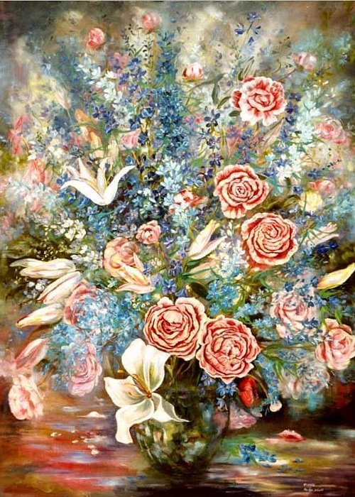 Peony Greeting Card featuring the painting Peony, Delphinium And Liliums by Ryn Shell