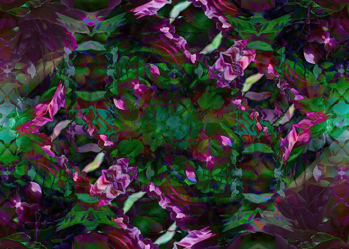 Abstract Greeting Card featuring the digital art Peony Explosion by Andrea Swiedler