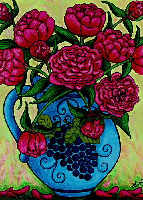Peonies Greeting Card featuring the painting Peony Party by Lisa Lorenz