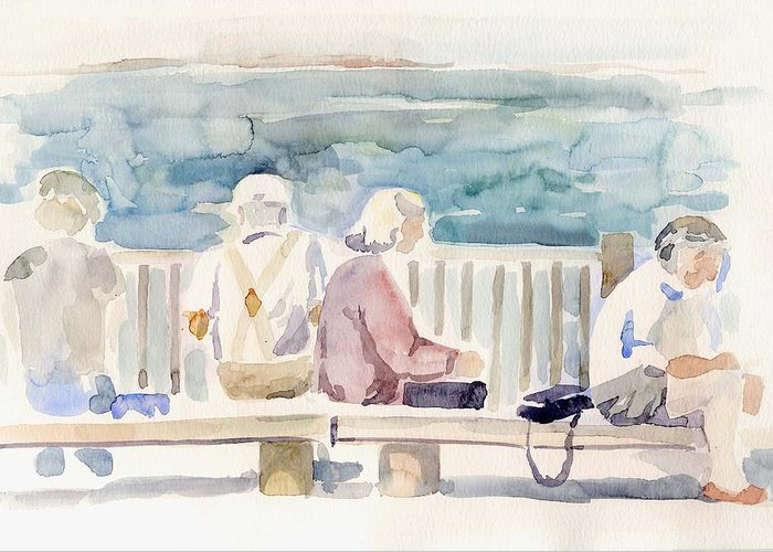 People Paintings Greeting Card featuring the painting People On Benches by Linda Berkowitz