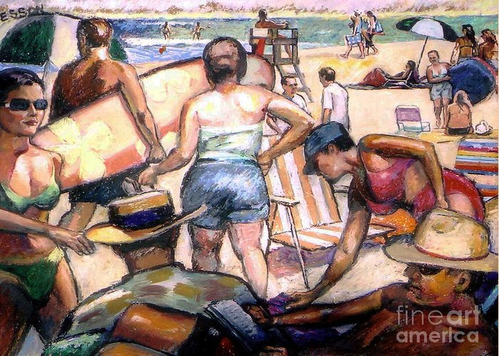 Beach Greeting Card featuring the painting People On The Beach by Stan Esson