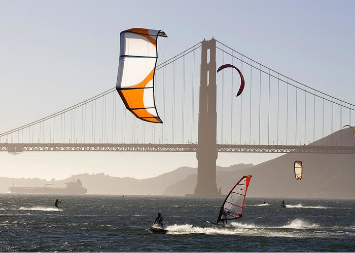 Lifestyles Greeting Card featuring the photograph People Wind Surfing And Kitebording by Skip Brown