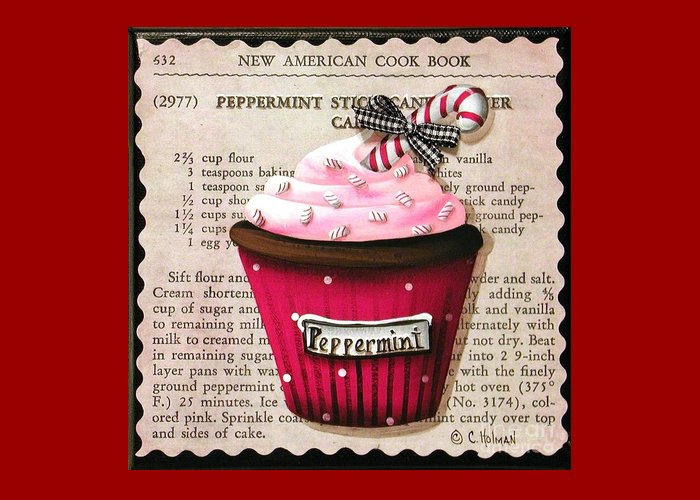 Art Greeting Card featuring the painting Peppermint Stick Christmas Cupcake by Catherine Holman