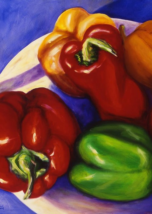 Still Life Peppers Greeting Card featuring the painting Peppers In The Round by Shannon Grissom