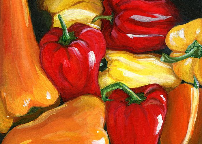 Peppers Greeting Card featuring the painting Peppers by Karyn Robinson
