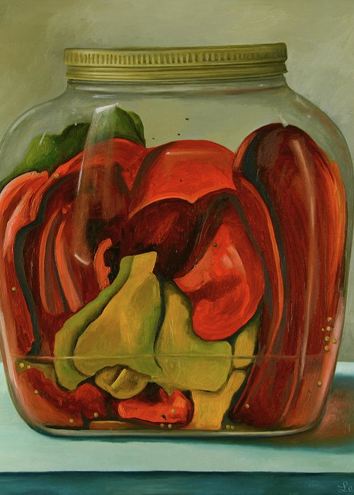 Peppers Greeting Card featuring the painting Peppers by Leah Saulnier The Painting Maniac