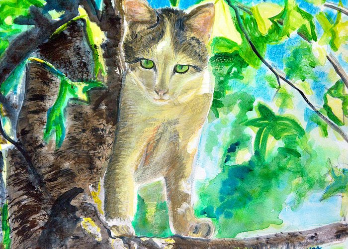 Cat Greeting Card featuring the painting Perched Cat by Aymeric NOA