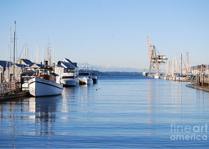 Olympia Greeting Card featuring the photograph Percival Landing by Larry Keahey