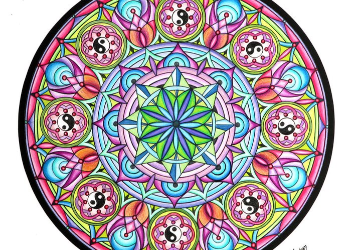Mandala Greeting Card featuring the painting Perfect Balance by Marcia Lupo