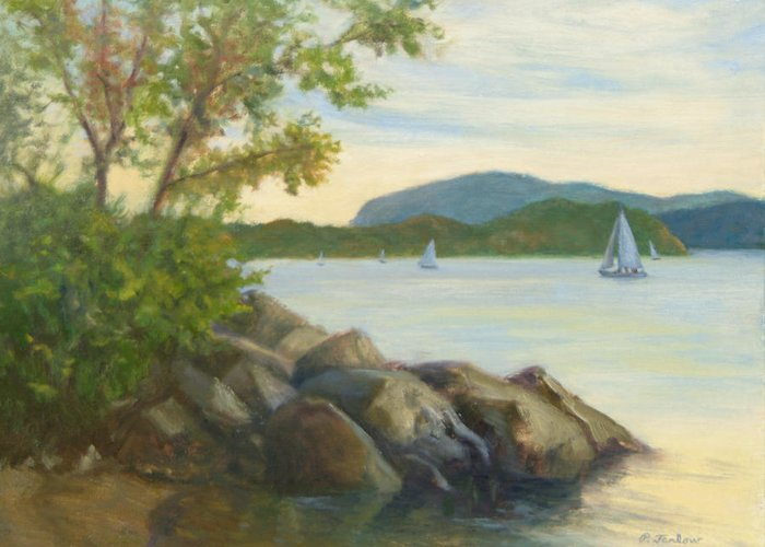 Landscape Painting Greeting Card featuring the painting Perfect Day for a Sail by Phyllis Tarlow
