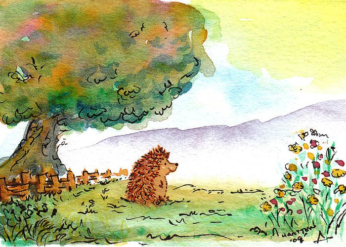 Hedgehog Greeting Card featuring the painting Perfect Day For A Walk by Kerry Hartjen