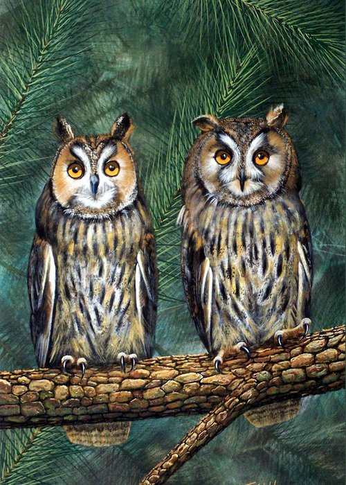 Wildlife Greeting Card featuring the painting Perfect Strangers by Frank Wilson