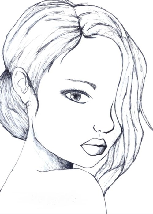 Women Greeting Card featuring the drawing Perfection by Perggals - Stacey Turner
