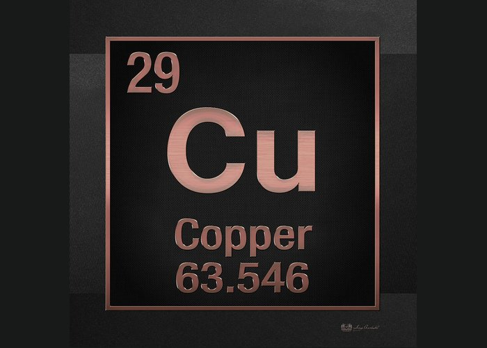 Periodic Table Of Elements Copper Cu Copper On Black Greeting