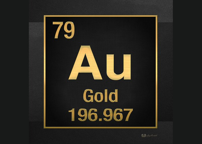 Periodic Table Of Elements Gold Au Gold On Black Greeting Card
