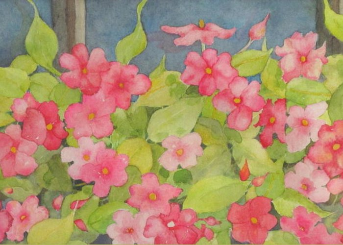 Flowers Greeting Card featuring the painting Perky by Mary Ellen Mueller Legault