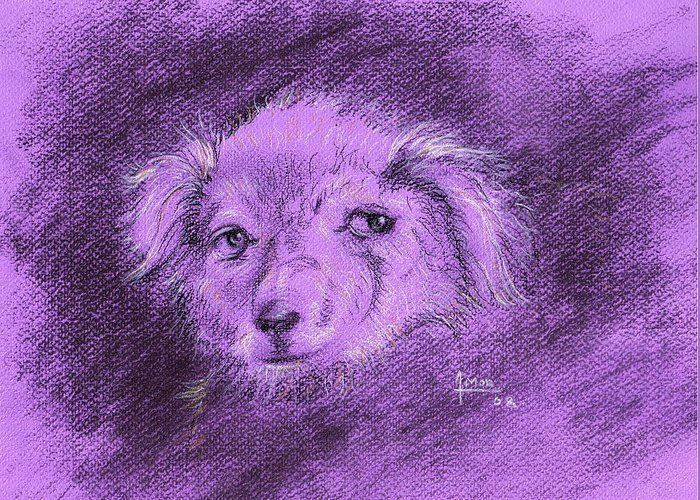 Dog Greeting Card featuring the drawing Perro Electrico 1 by Victor Amor